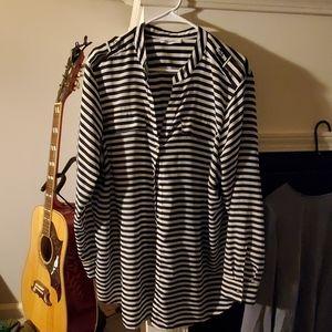 Black and white striped Calvin Klein blouse 2x